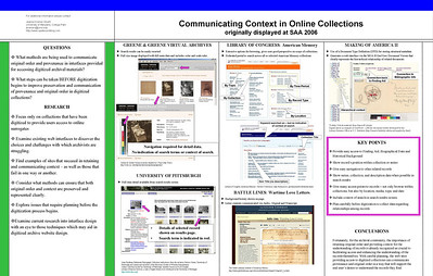 SAA2006 Poster: Communicating Context in Online Collections